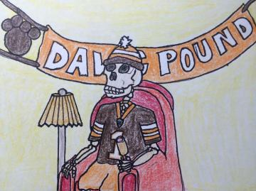 A Cleveland Browns skeleton in a chair